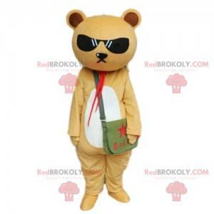 Beige und weißer Teddybär Maskottchen, Teddybär Kostüm -