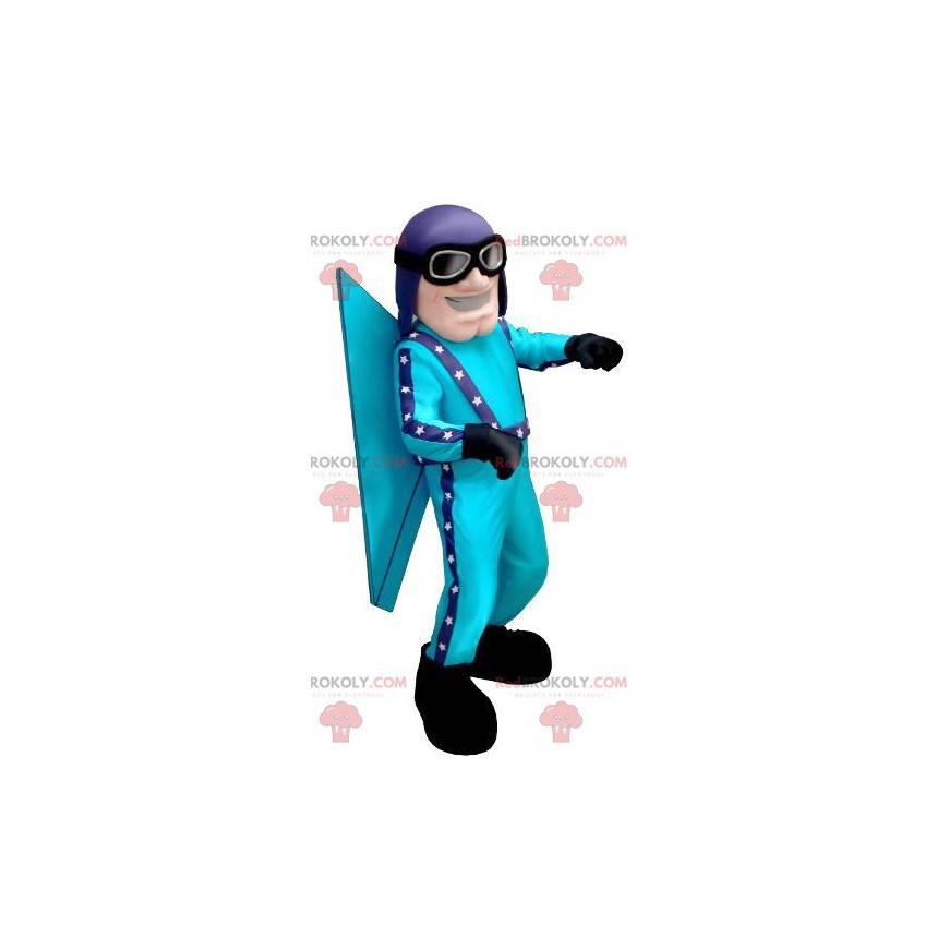 Blue aviator mascot with a helmet and glasses - Redbrokoly.com
