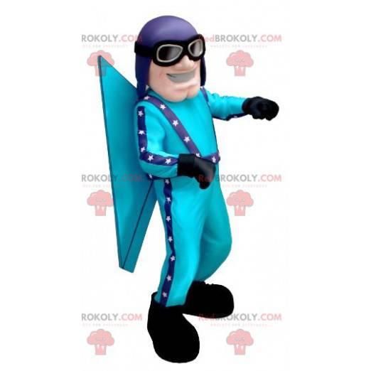 Blaues Fliegermaskottchen mit Helm und Brille - Redbrokoly.com