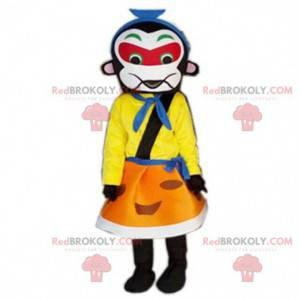 Buntes Samurai-Maskottchen, asiatisches Kostüm, kaiserliche