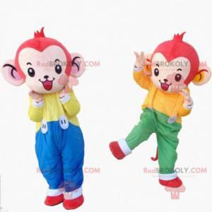 2 monkey mascots, chimpanzee costume, jungle costume -