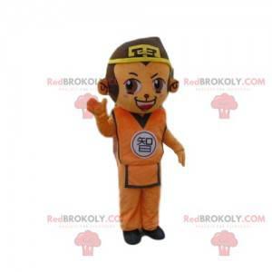 Affenmaskottchen im asiatischen Outfit, asiatisches Kostüm