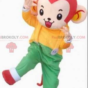 Maskot opice v barevné oblečení, obří kostým opice -