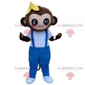 Maskot opice, banánový kostým, exotické maskování -
