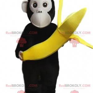 Affenmaskottchen, das ein Bananen-, Pavian-Kostüm trägt -