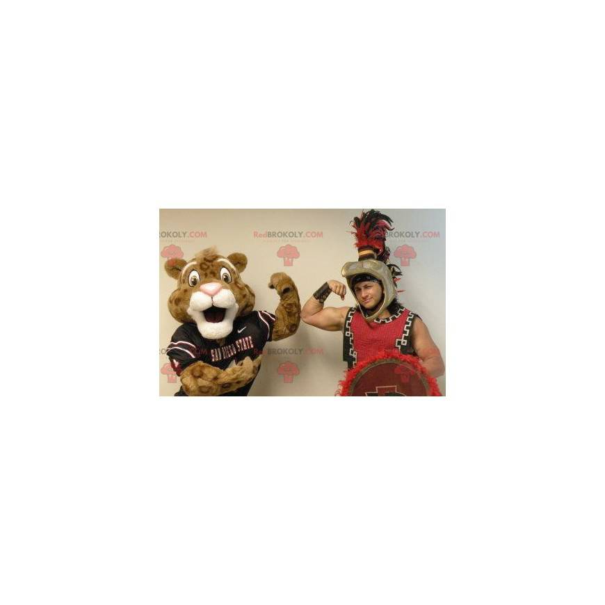 Brown and white tiger mascot in sportswear - Redbrokoly.com