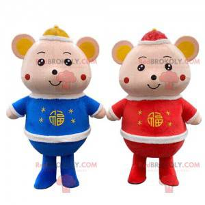 Mouse mascots, couple of mice, 2 mice, 2 rodents -
