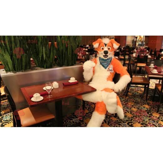 Orange und weißes Hundemaskottchen - Redbrokoly.com
