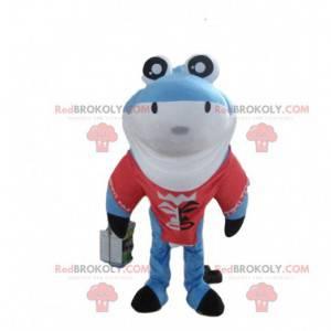 Blue shark mascot, shark costume, disguise of the sea -