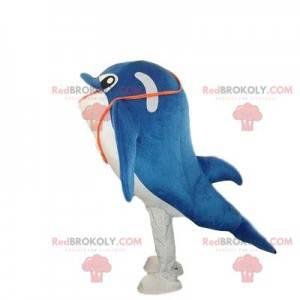 Modré a bílé delfín maskot, velrybí kostým - Redbrokoly.com