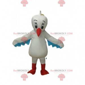 Mascote pelicano, fantasia de pássaro, fantasia de cegonha -