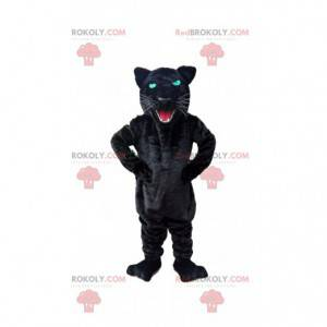 Roaring black panther mascot, feline costume - Redbrokoly.com