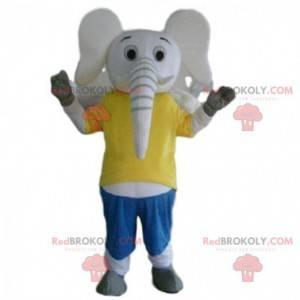 Weißes Elefantenmaskottchen, Dickhäuter-Kostüm, Zoo-Kostüm -