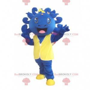 Dinozaur maskotka, niebieski kostium, niebieski potwór -