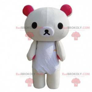 Teddy bear mascot, bear costume, white teddy bear -