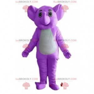 Lila Elefantenmaskottchen, Dickhäuter-Kostüm, lila Tier -
