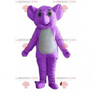 Maskot fialový slon, kostým tlustokožec, fialové zvíře -