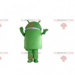 Maskot Androidu, kostým zeleného robota, přestrojení za mobilní