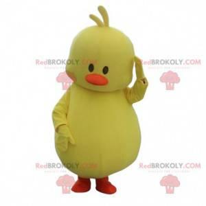 Baculatá kočka maskot, pták kostým, velký žlutý pták -