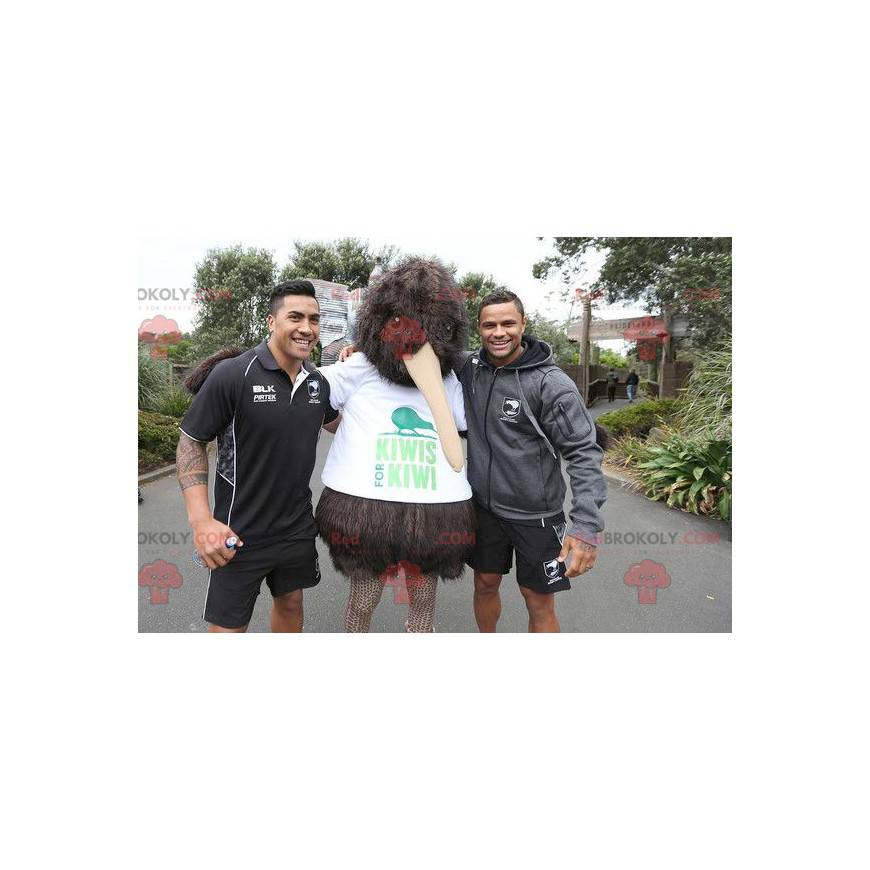 Mascot big brown kiwi bird all hairy - Redbrokoly.com