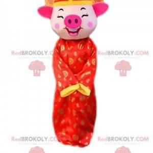 Kostium świni w odświętnym stroju, maskotka chiński znak -