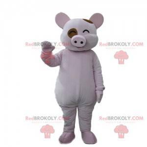 Śmiejąca się maskotka świnia, roześmiany kostium, zwierzę
