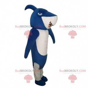 Blå haj maskot, hai kostyme, forkledning av havet -