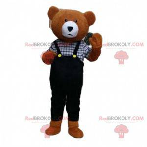 Teddybär Maskottchen mit Overall, Braunbär Kostüm -