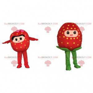 2 strawberry mascots, strawberry costumes - Redbrokoly.com