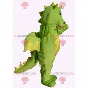 Green and yellow dragon mascot, dinosaur costume -