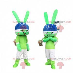 2 maskoti zelených králíků, králičí kostýmy, šokující duo -