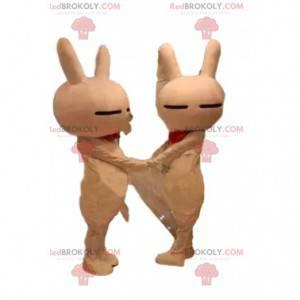 2 maskoti oranžových králíků, králičí kostýmy, šokující duo -
