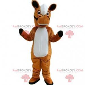 Brown and white horse mascot, riding costume - Redbrokoly.com