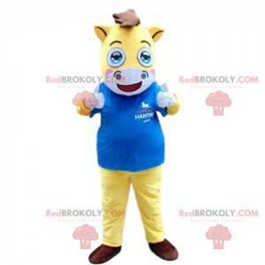 Maskot žluté a bílé koně, jezdecký kostým - Redbrokoly.com