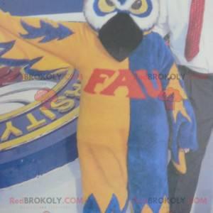 Ugle maskot blå hvit og gul - Redbrokoly.com