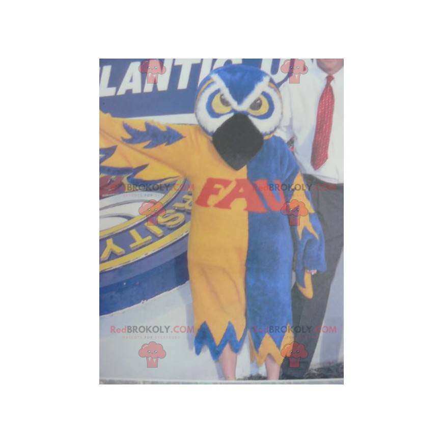 Owl mascot blue white and yellow - Redbrokoly.com