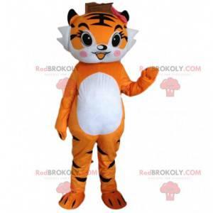 Tigress mascot, orange tiger costume, feline disguise -