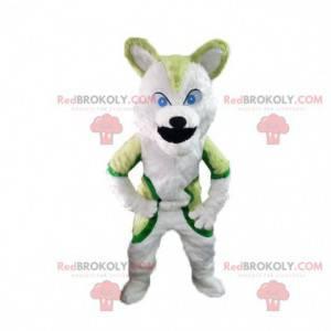 Zielona maskotka husky, kostium lisa, włochate przebranie -