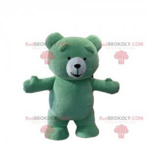 Maskot zelený medvídek, kostým medvídka zeleného medvěda -