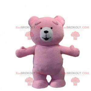Maskot růžového medvěda, kostým růžového medvídka, medvídek -