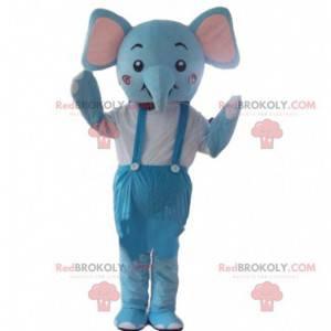 Blaues Elefantenmaskottchen, Dickhäuterkostüm, blaues Tier -