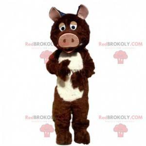 Brown and white boar mascot, wild pig costume - Redbrokoly.com