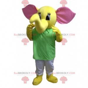 Maskot žlutý slon, kostým tlustokožec, žluté zvíře -