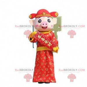 Pig mascot, Asian pig costume, god of wealth - Redbrokoly.com
