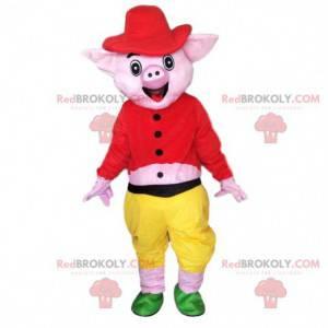 Smiling pig mascot, pink pig costume - Redbrokoly.com