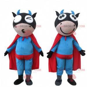 2 superhero cow mascots, super hero costumes - Redbrokoly.com