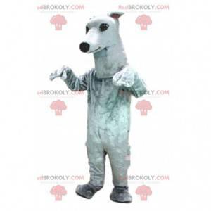 Greyhound maskot, hundedrakt, hvit hund - Redbrokoly.com