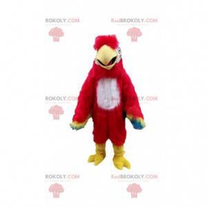 Maskot papouška, kostým exotického ptáka, barevný pták -
