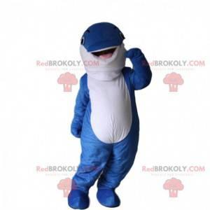 Blaues und weißes Delphinmaskottchen, Walkostüm - Redbrokoly.com