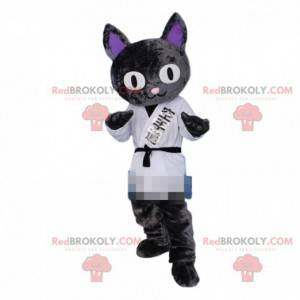 Katzenmaskottchen, Judoka-Kostüm, Karateka-Kostüm -